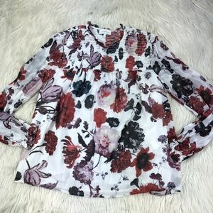 Lucky Brand Floral Peasant Boho Blouse